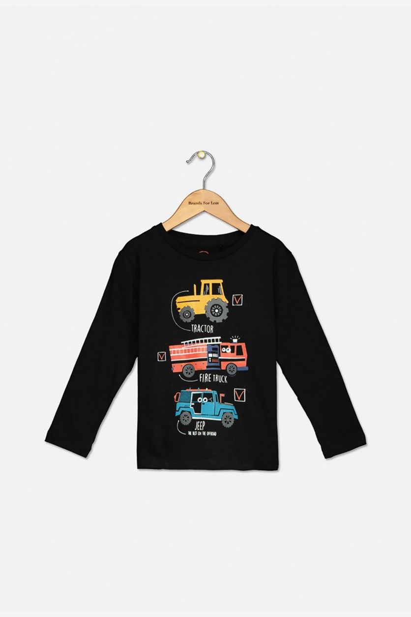 Little Boys Graphic Printed Top, Black