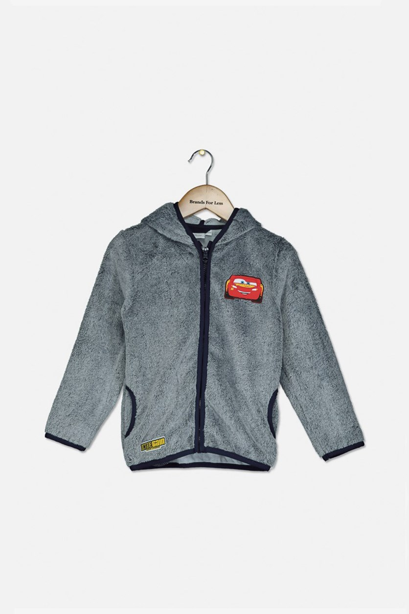 Boy Kids Cars Hoodie Jacket, Grey