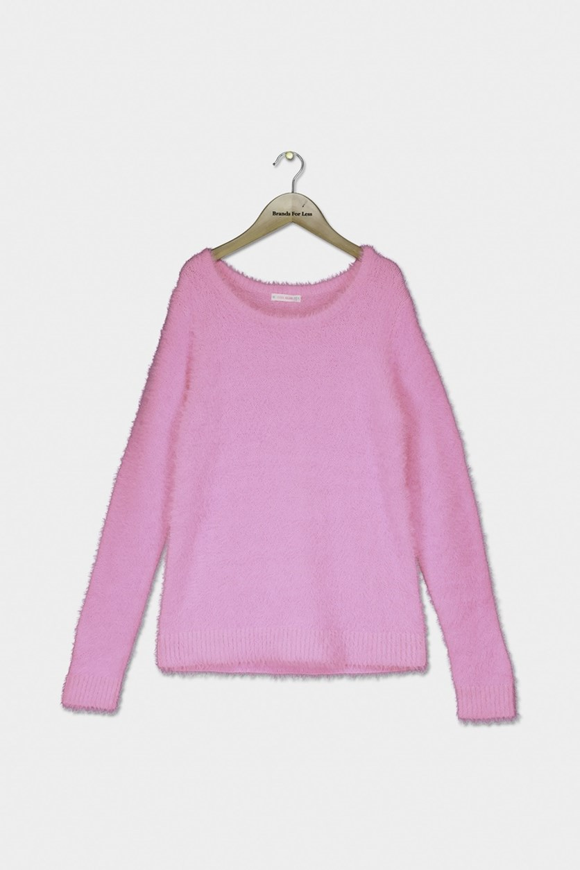 Girl's Round-neck Pullover Sweater, Pink