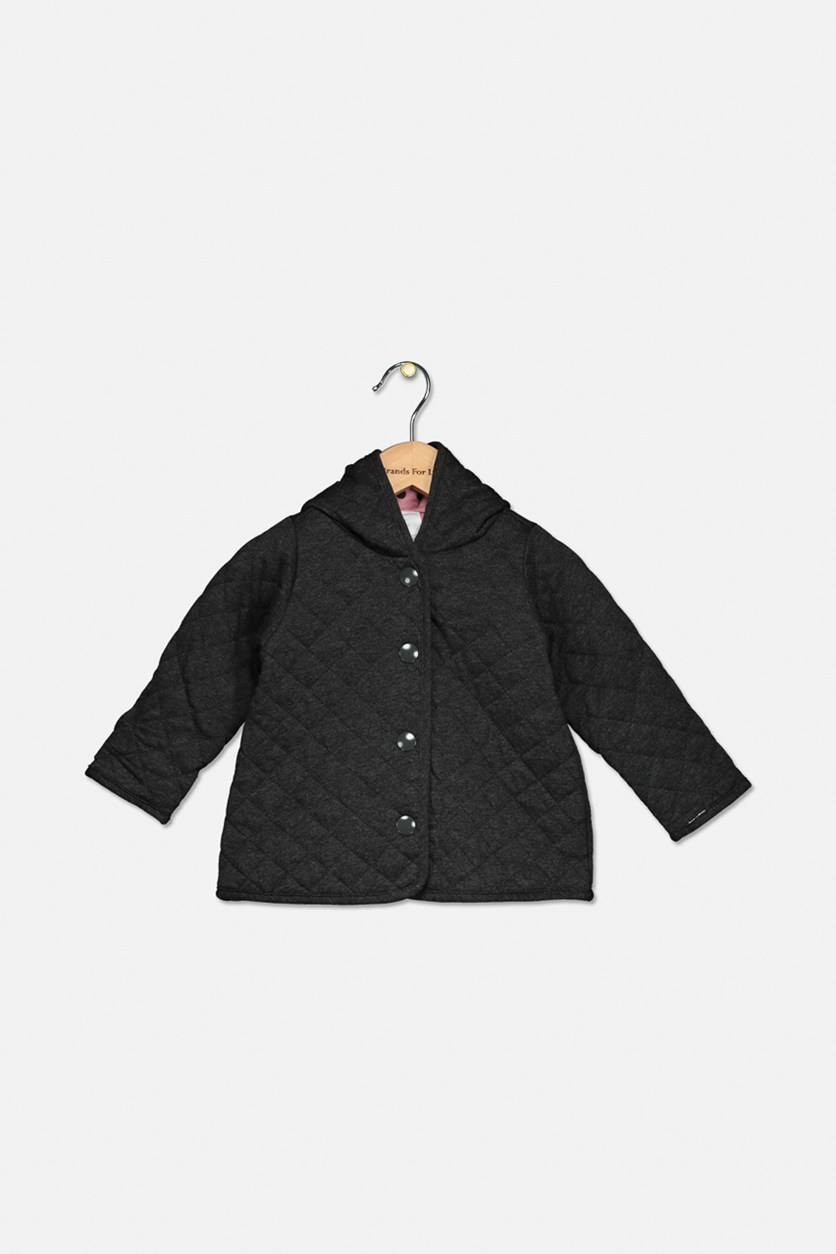 Baby Girls Quilted Dot-Print Reversible Jacket, Dark Gray/Pink