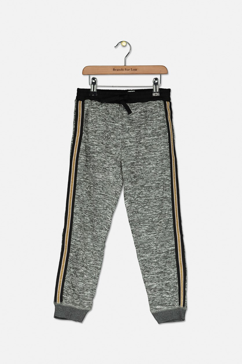 Big Girl's Space-Dyed Sweatpants, Charcoal