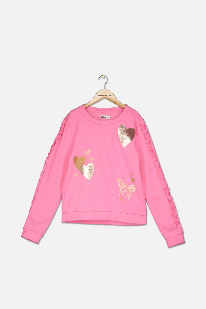 Kids Girls Sequins Sweater, Pink Carnation