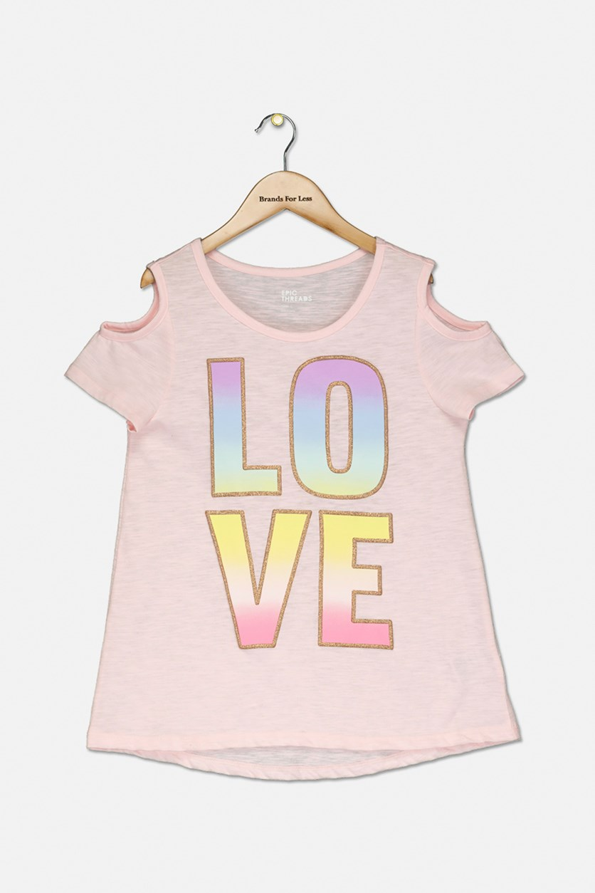 Big Girls Love Cold-Shoulder T-Shirt, Pink