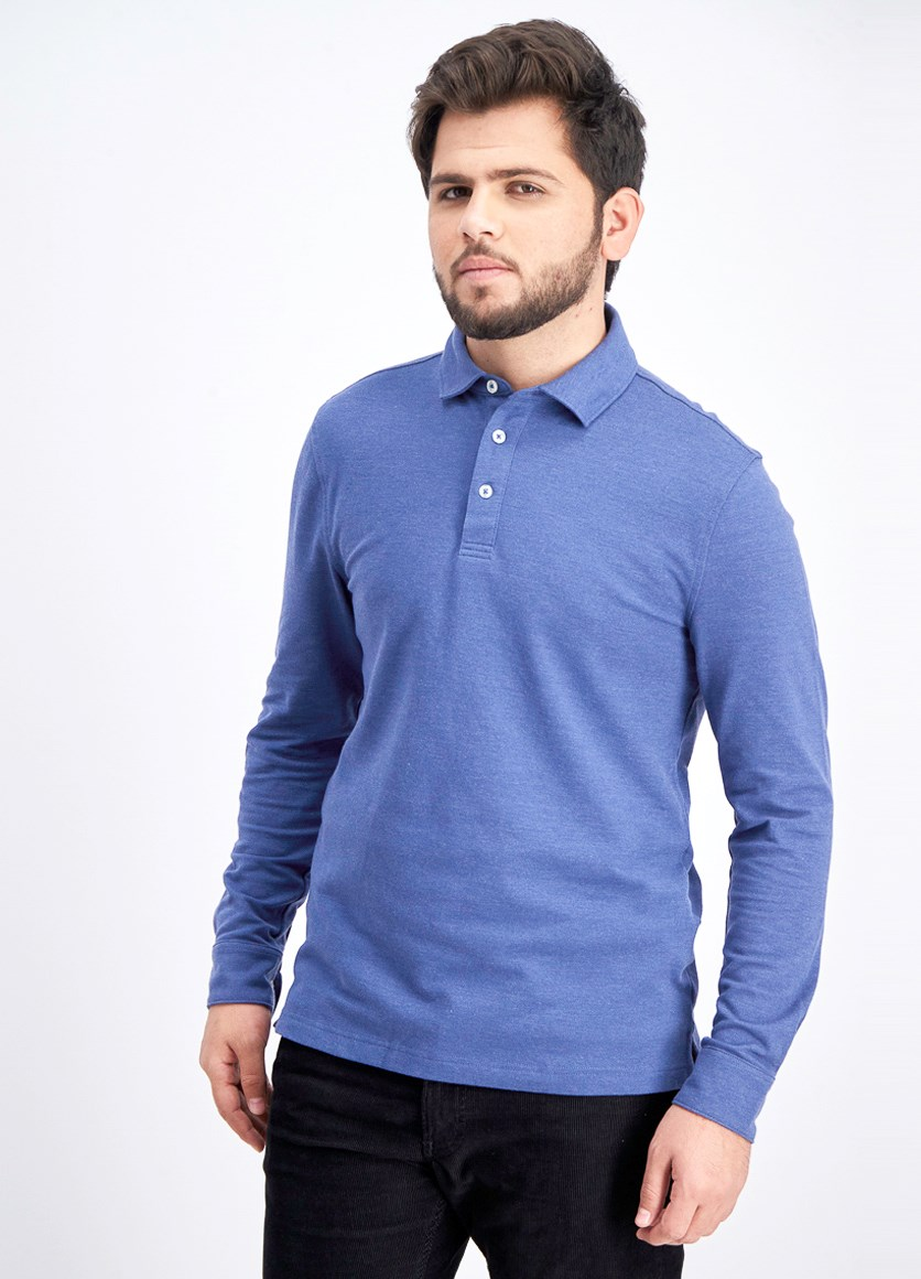 Men's Cotton Solid Long Sleeves Polo  Shirt, Mid Blue