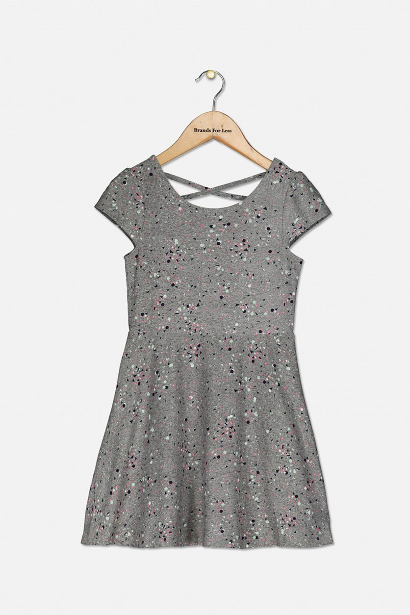 Girl's Splatter-Print Criss-Cross Dress, Pewter Heather