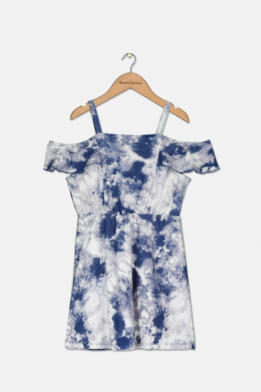 Kids Girls Tie-Dyed Cold-Shoulder Dress, Peacoat