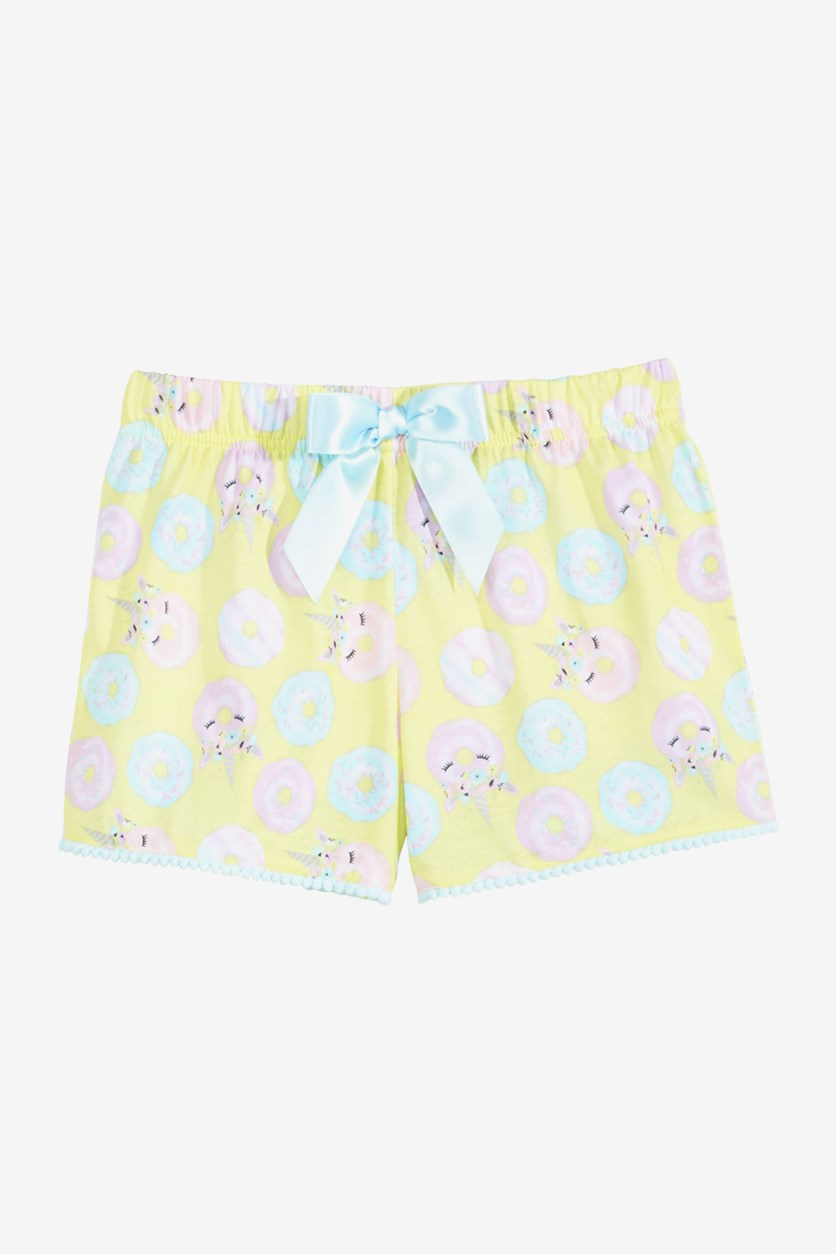Big Girls Printed Pajama Shorts, Lime