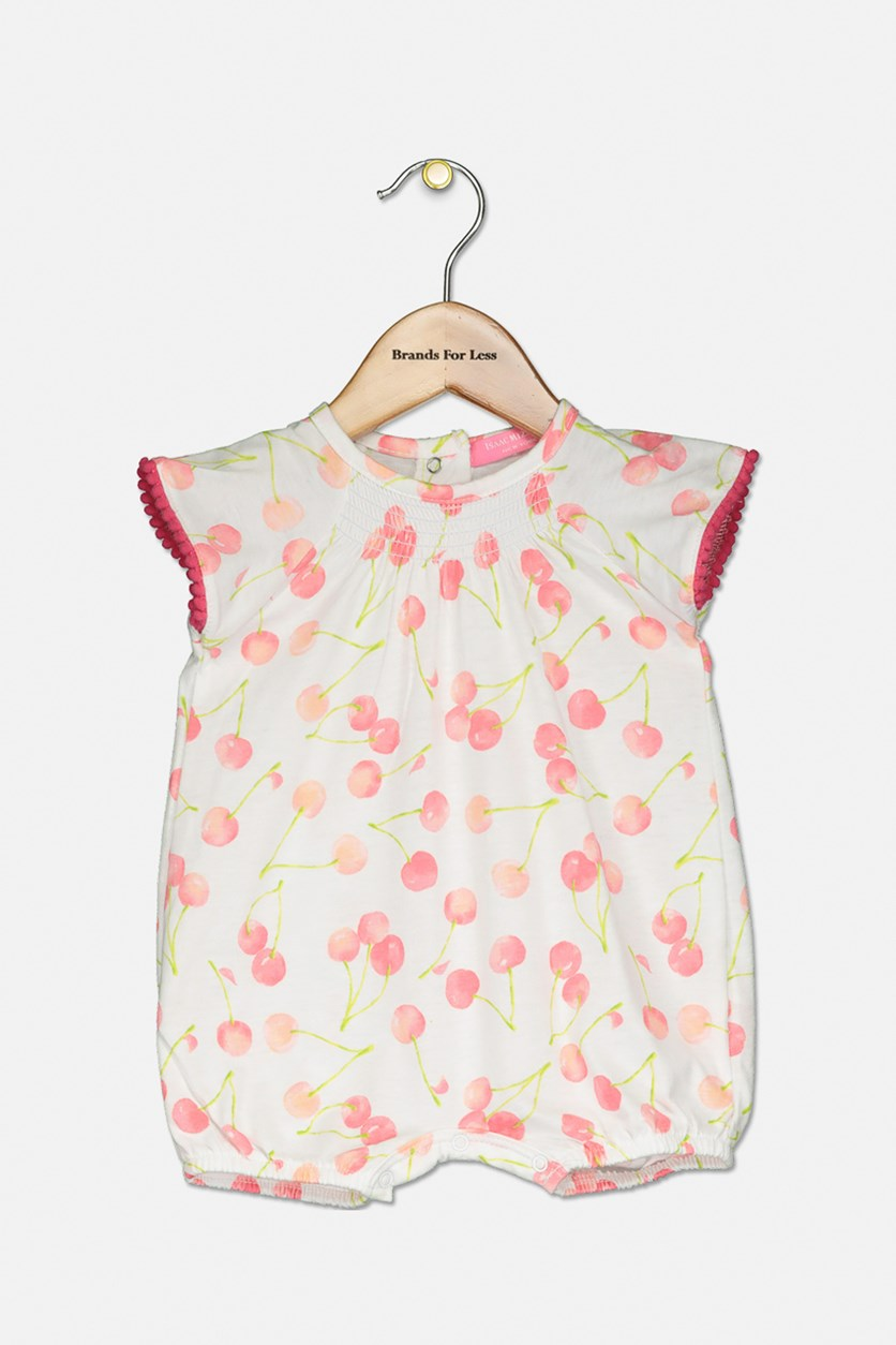 Toddler's Cherry Printed Romper, Pink/White