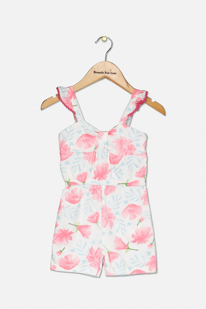 Toddler Girl's Floral Romper, Pink/White