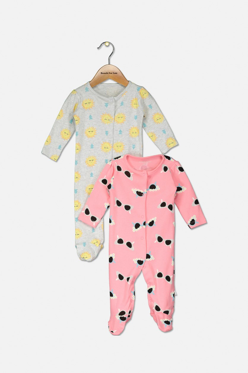 Baby Girl's 2 Pieces Allover Print Overall,  Pink/Grey