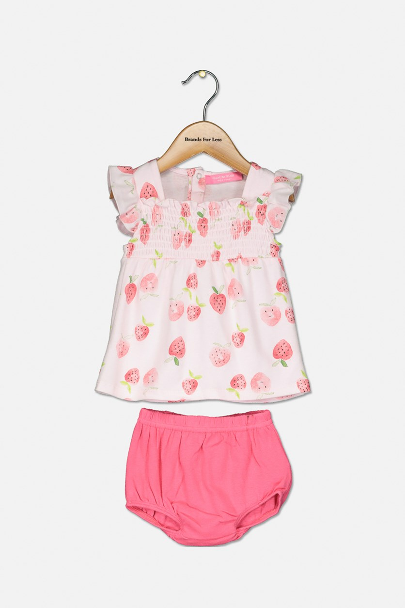 Baby Girls' Strawberry-Print Dress & Diaper Cover, Peach/Pink