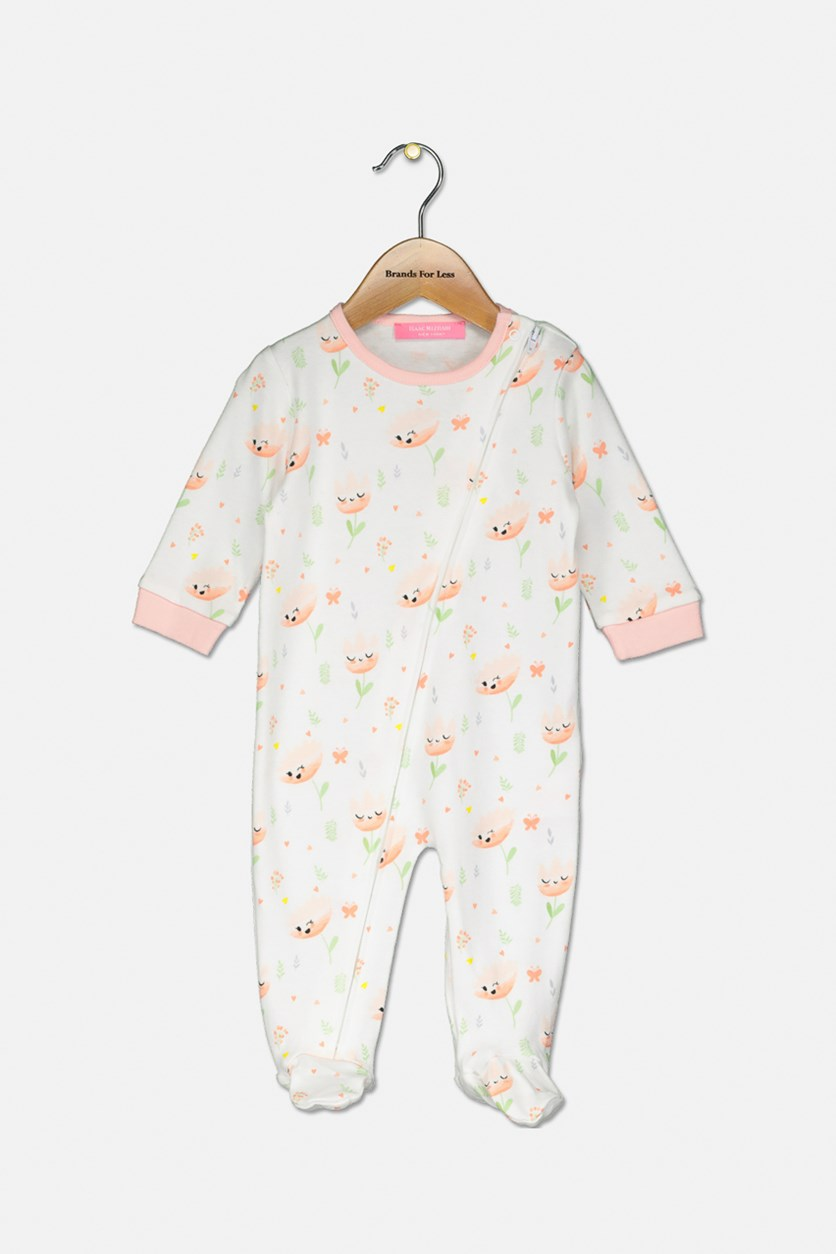 Baby Girls' Floral-Print Cover All, Peach Combo