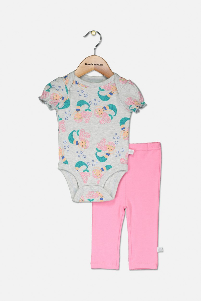 Baby Girl's Mermaid Print 3 Pieces Set, Pink/Grey/White