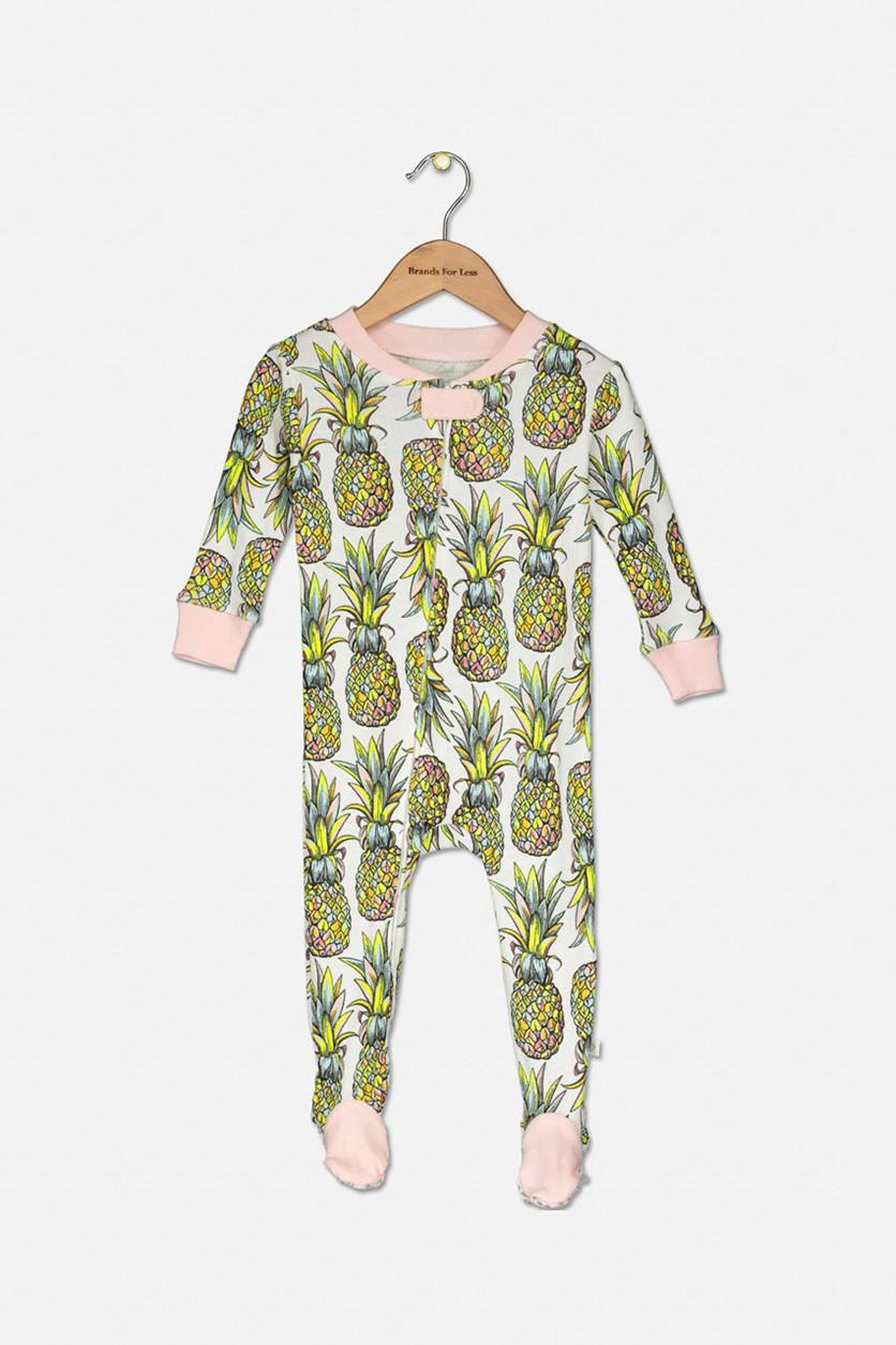 Baby Girls Pineapple Coverall Footie, Blush/White Combo