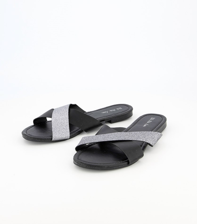 Women's Slip On Sandals, Black/Silver