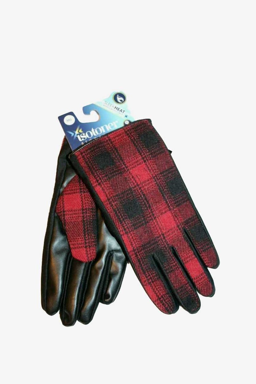 Men's Faux-Leather Driving Gloves, Red/Black