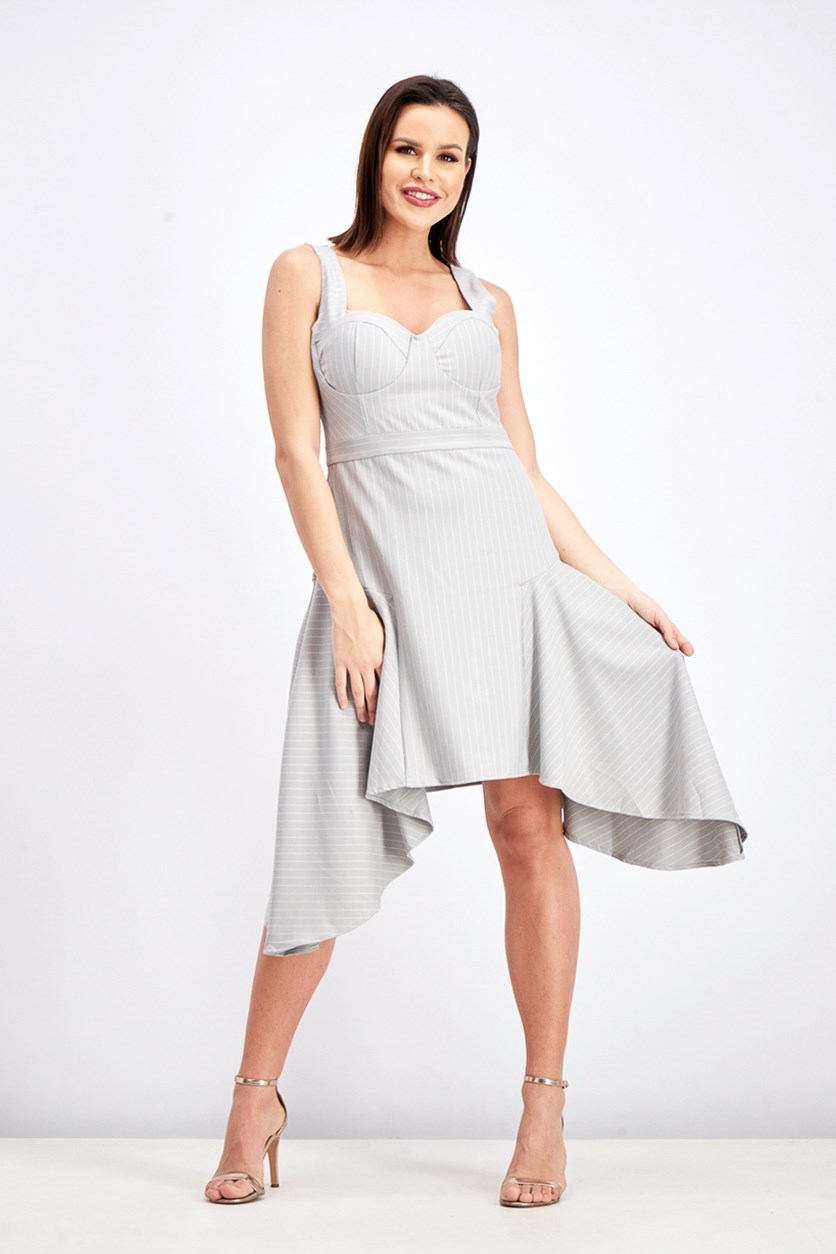 Women's Mitered Pinstripe Dress, Light Grey