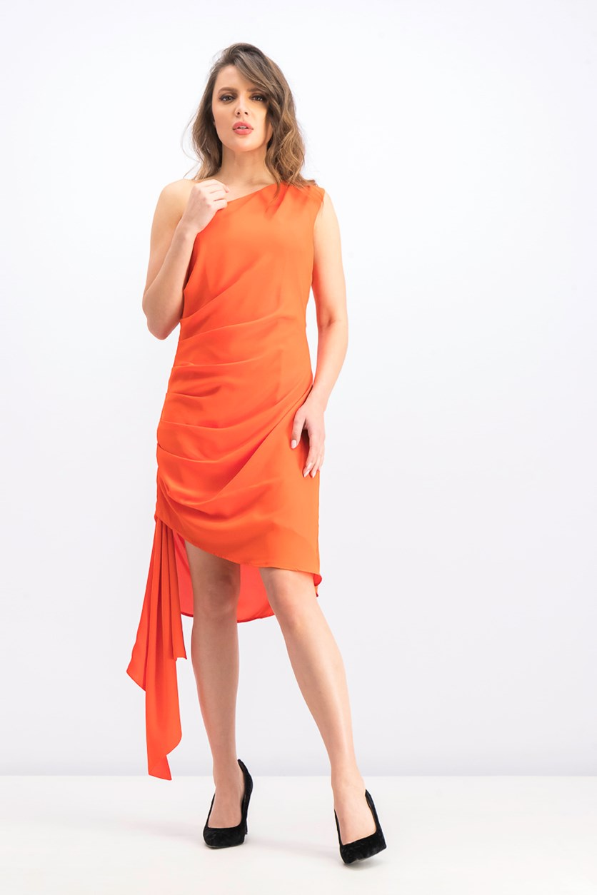 Women's One Shoulder Sleeve Bodycon Dress, Tangerine Tango