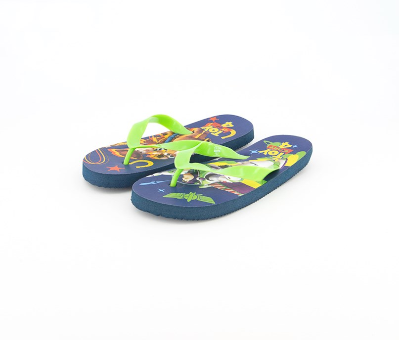 Boy's Toy Story Slip On Slippers, Blue/Lime Green
