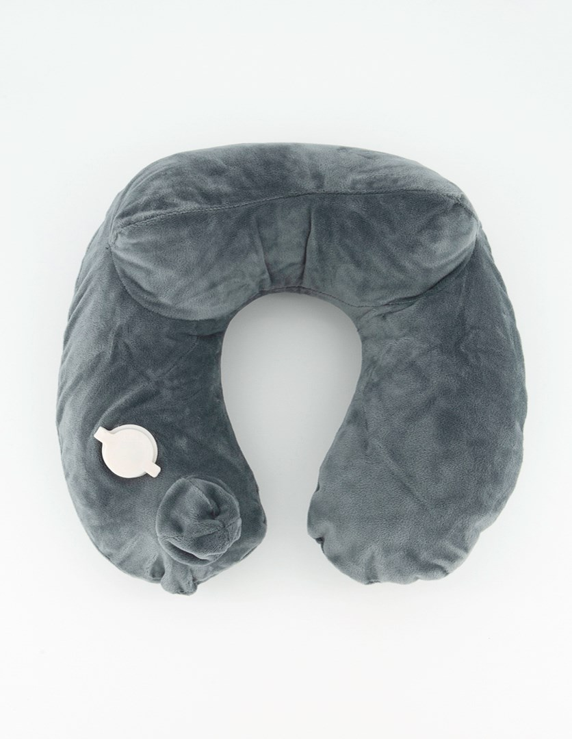 Air Comfy Inflatable Neck Travel Pillow, Grey