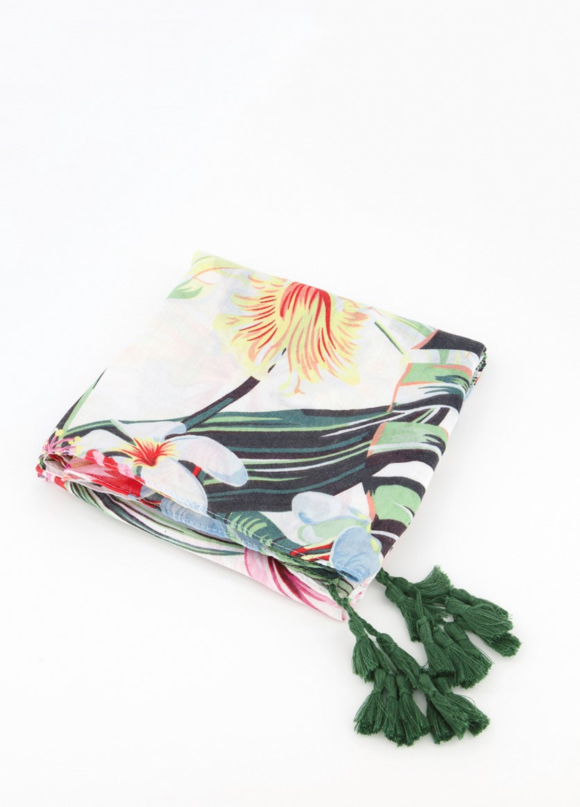 Women's Floral Print Scarf, Green Combo