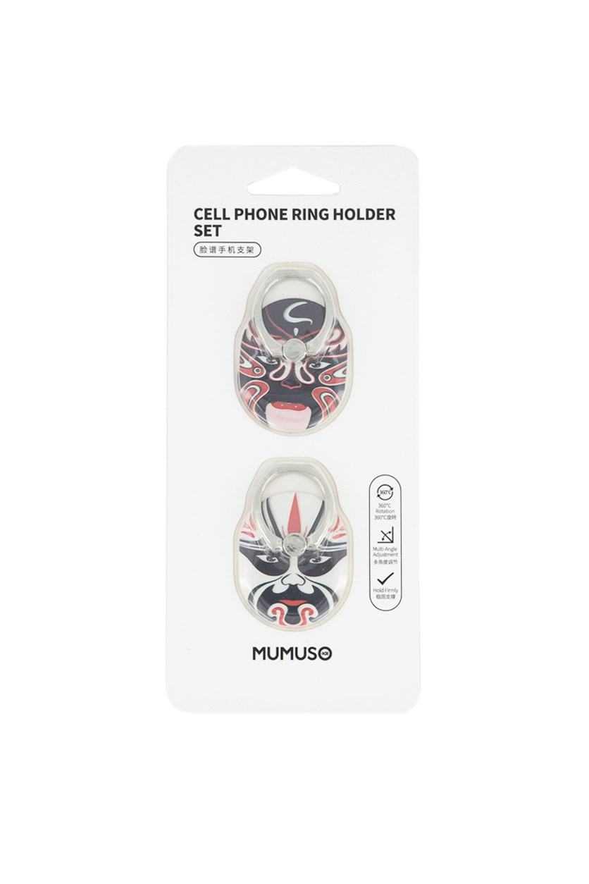 Cell Phone Ring Holder Peking Opera Mask, Black/White