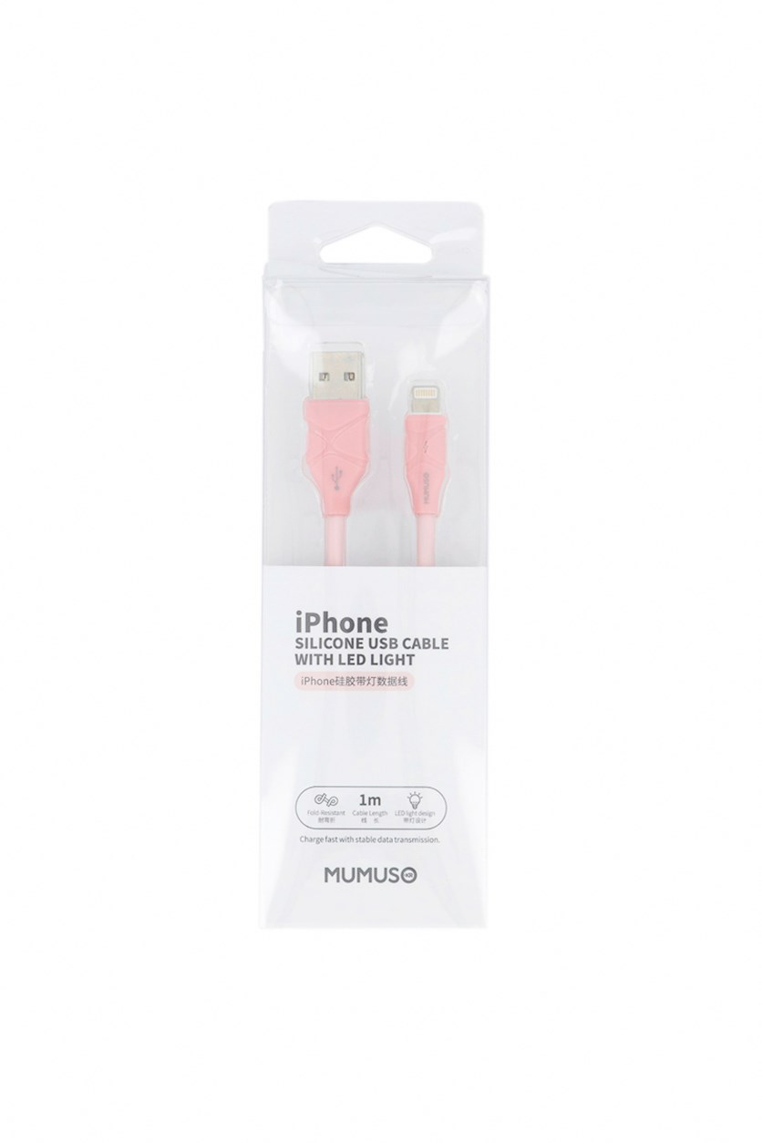 Iphone Silicone USB Cable With Led Light, Pink