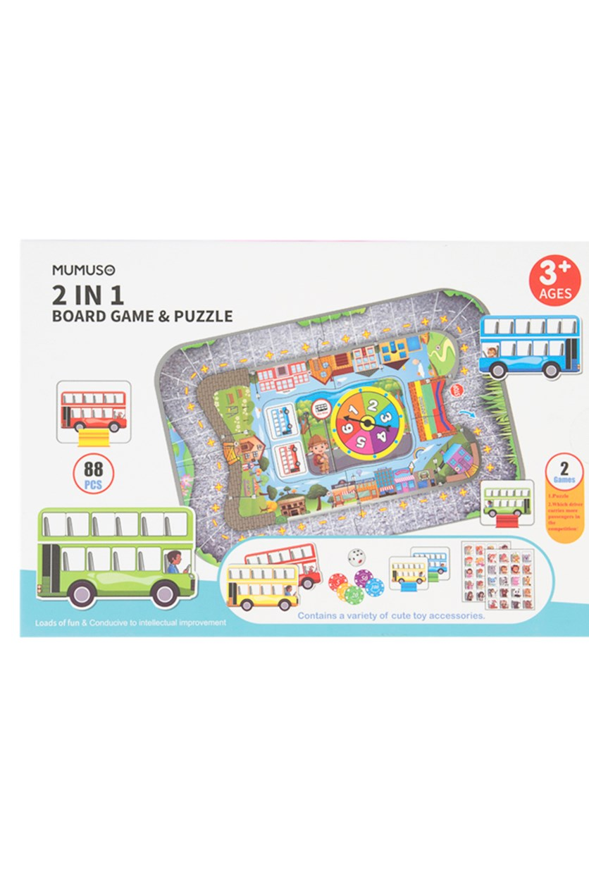 2 In 1 Board Game & Puzzle, White/Green/Blue
