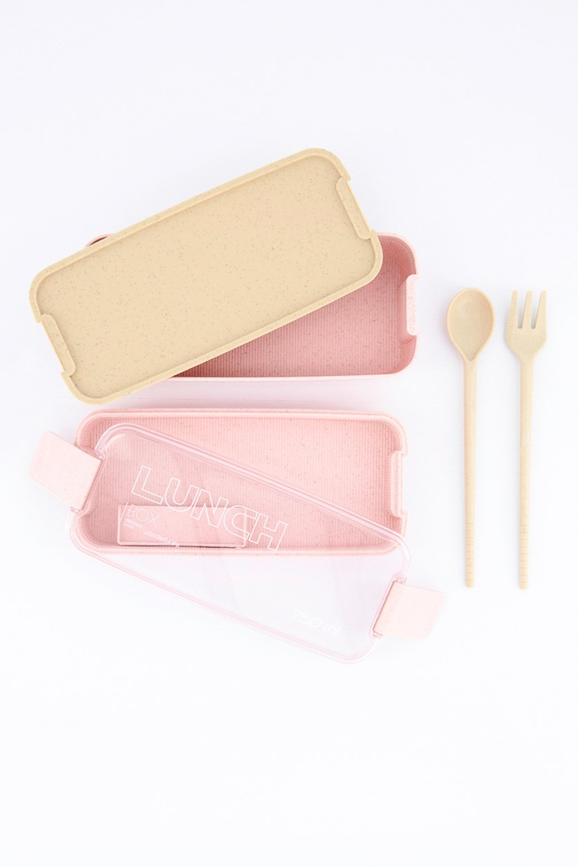 Lunch Box-Wheat Straw Transparent Lid 750 ml, Pink