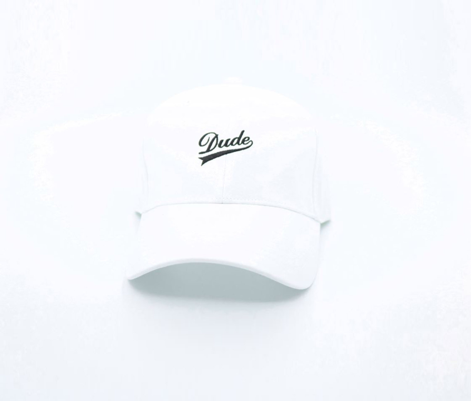 Letters Embroidered Baseball Cap-Dude, White