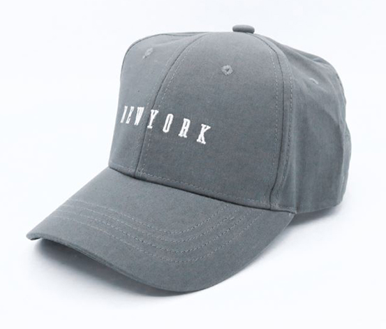 Letters Embroidered Baseball Cap -New York, Grey
