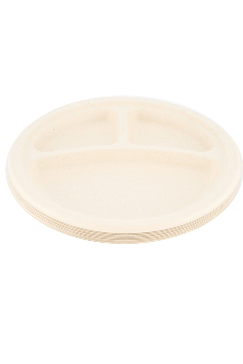 9 Inch Disposable 3 Compartment Plates 10 Piece, Natural
