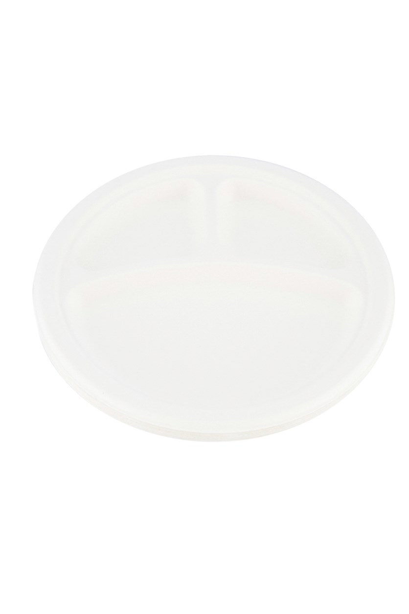 Disposable 3-Compartment Plates, Off White