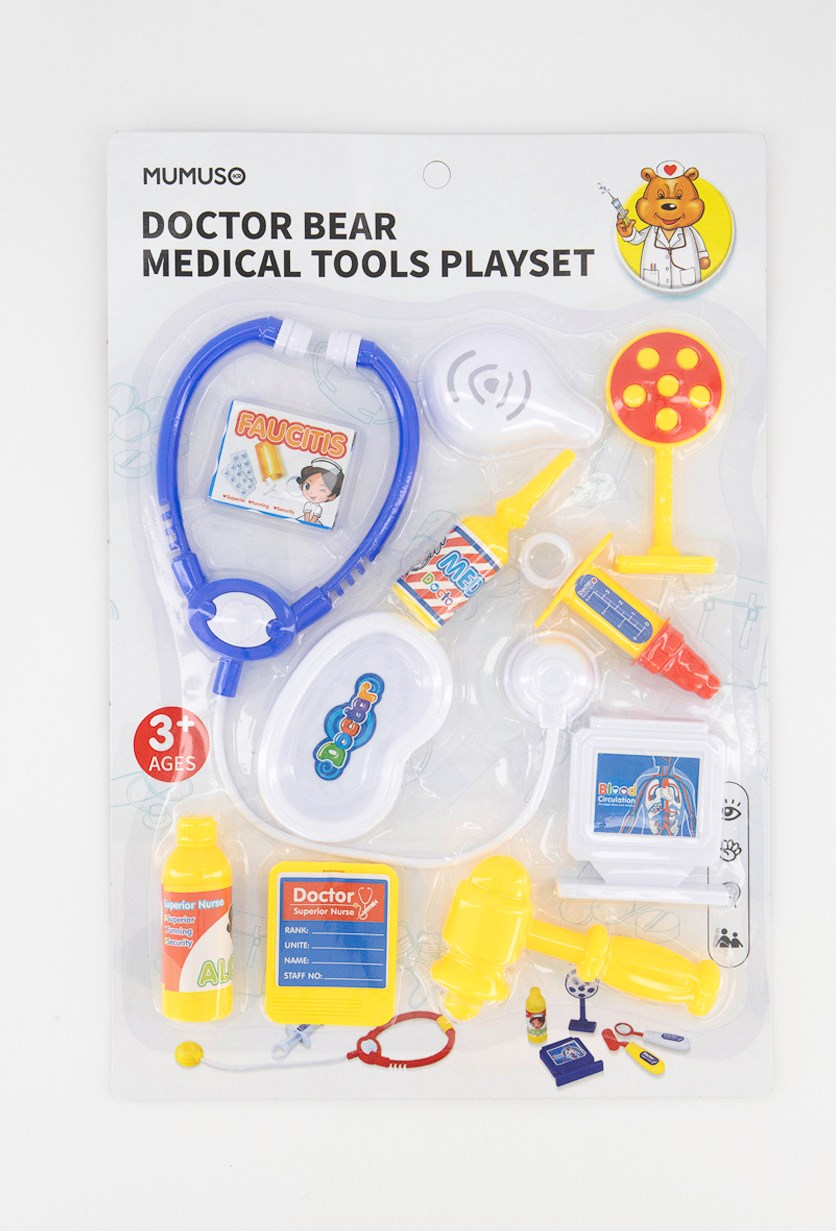 Doctor Bear Medical Tools Playset, White/Blue/Yellow