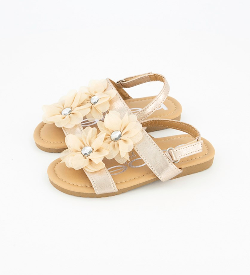 Girl's Fashion Sandal With Rhinestone Flowers, Metallic Gold