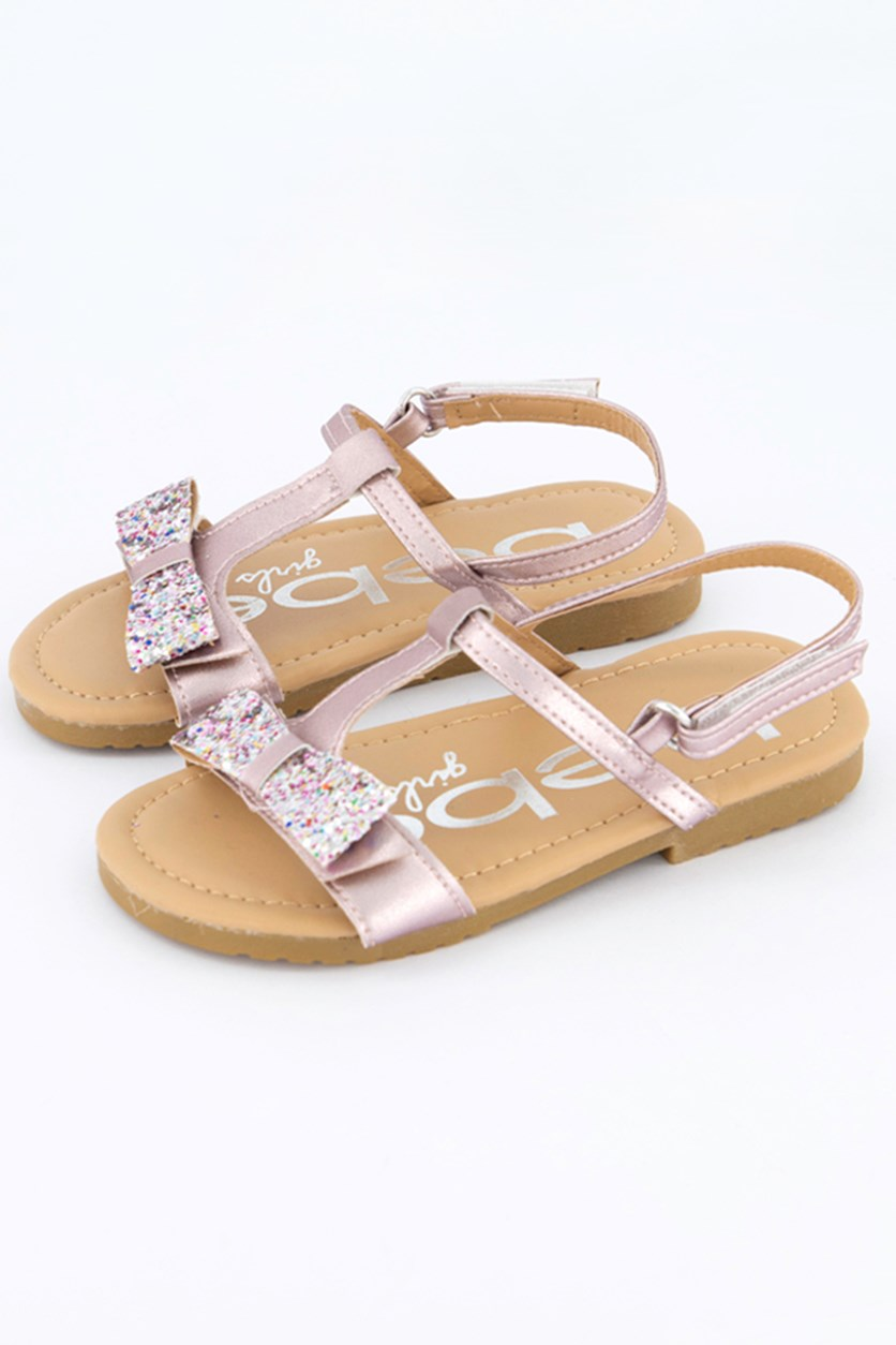 Girl's Lee Slip on Sandals With Ribbon, Pink