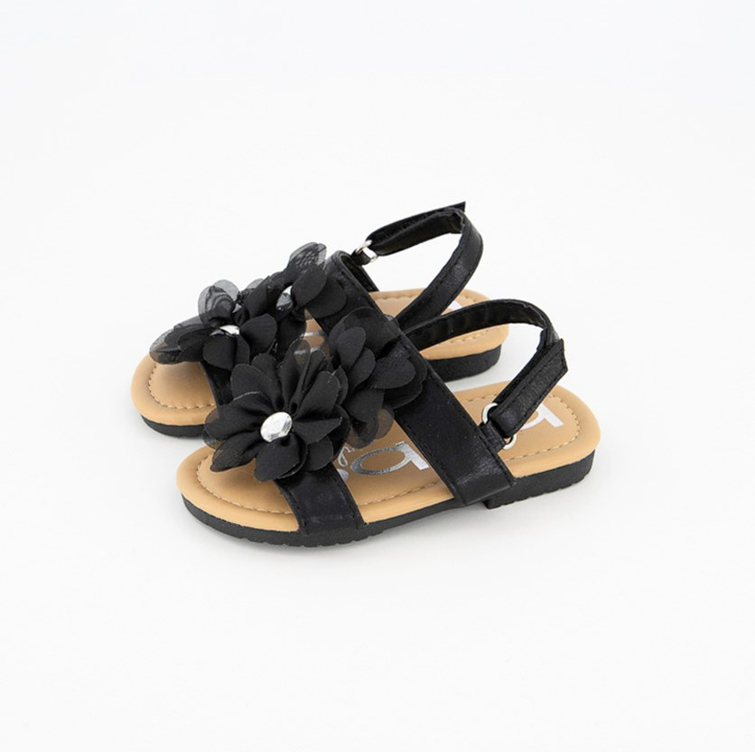 Girl's Shimmery Sandal With Flowers, Black
