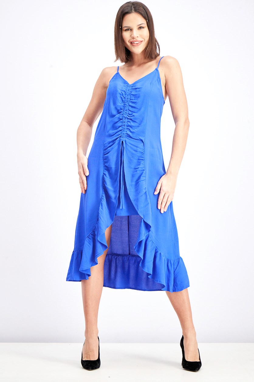 Women's Front Gathering Midi Dress, Cobalt