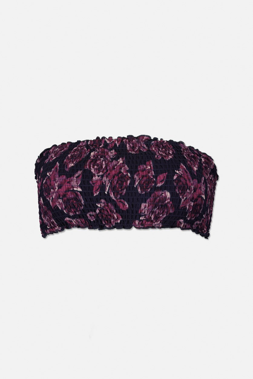Women's Shirred Bandeau Top, Navy/Purple