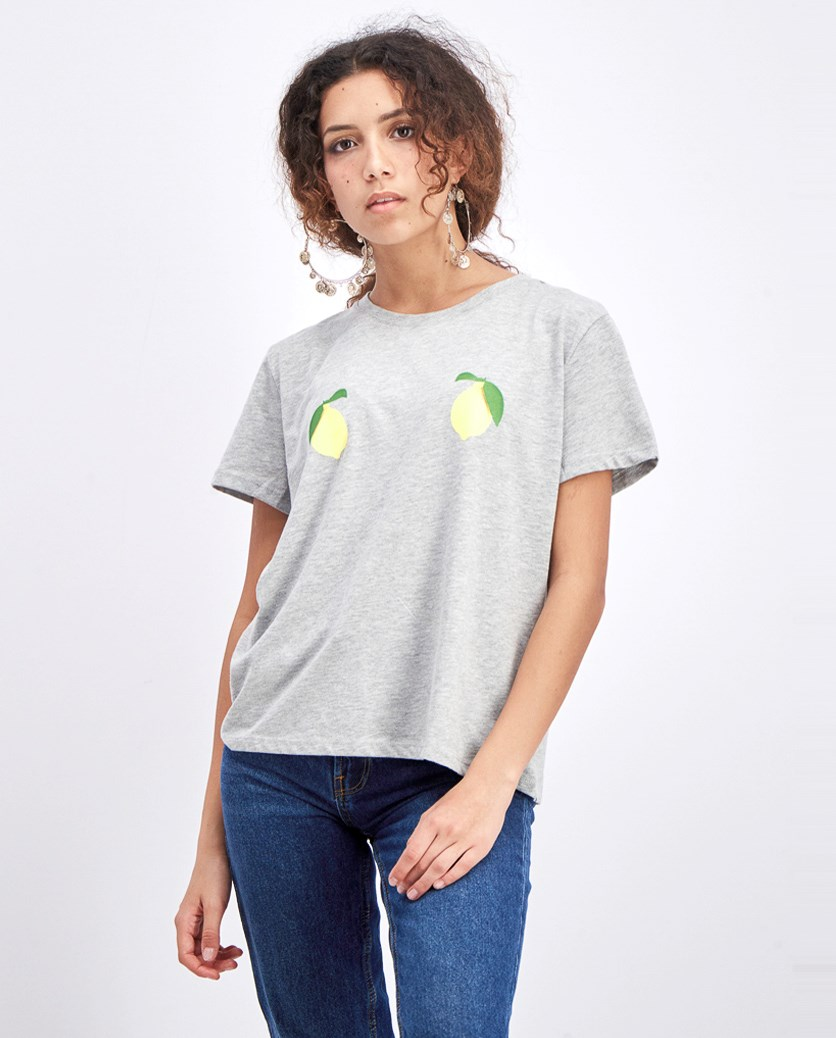 Women's Lemon Tee, Grey