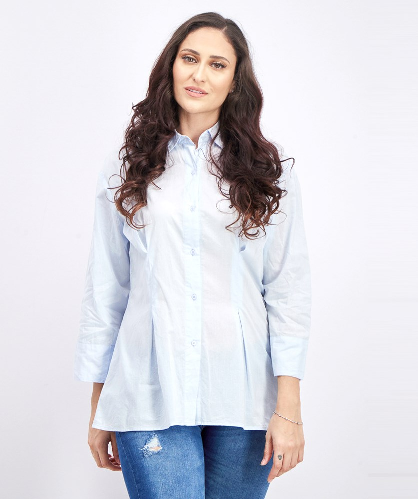 Women's Detail Oversized Shirt, Light Blue