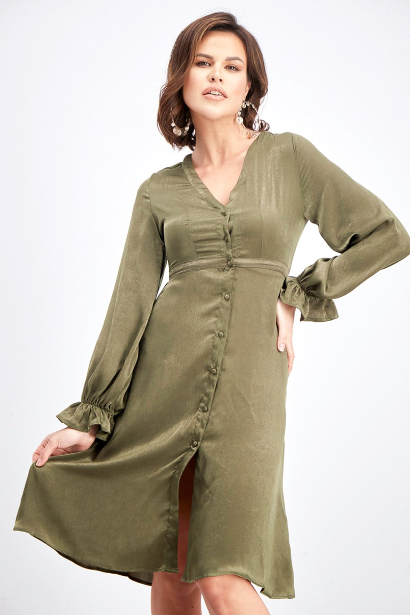 Women's Flared Sleeve Dress, Olive