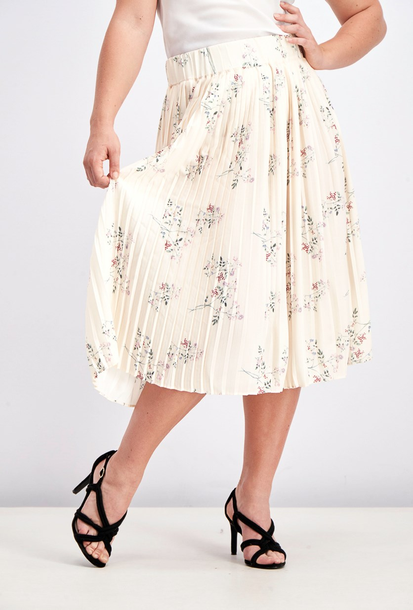 Women's Pleated Midi Skirt, Garden Flower