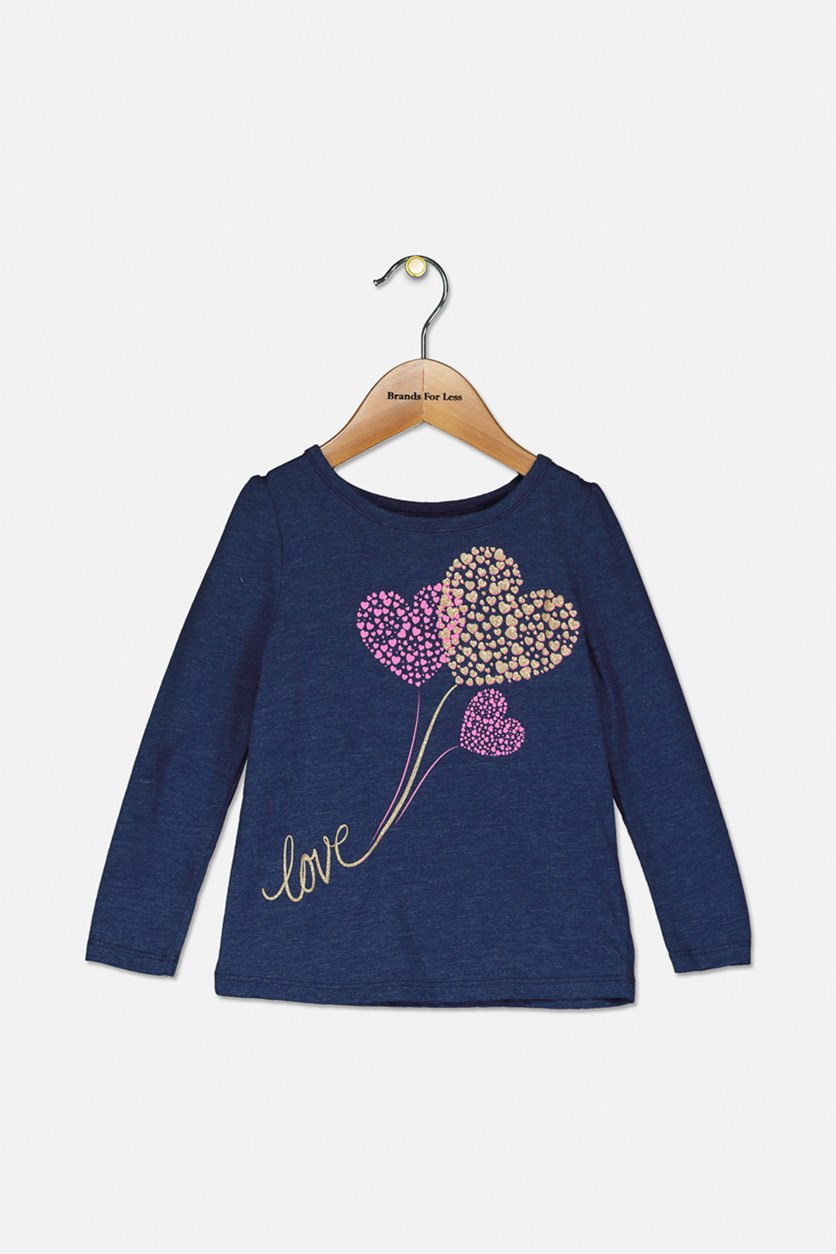 Toddler Girls Long-Sleeve Love Hearts T-Shirt, Medieval Blue