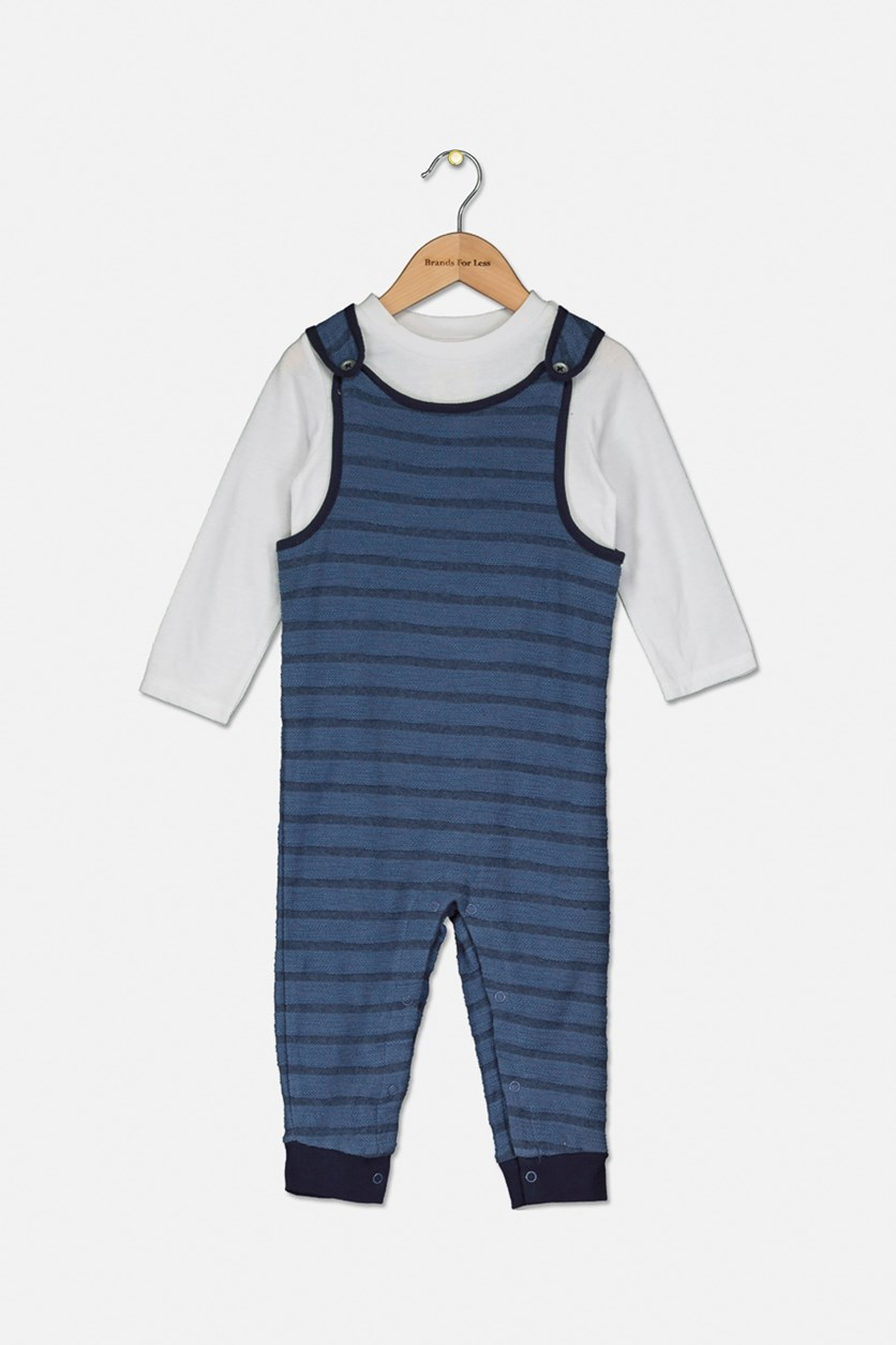 Baby Boys 2-Pc. T-Shirt & Striped Overall Set, White/Navy
