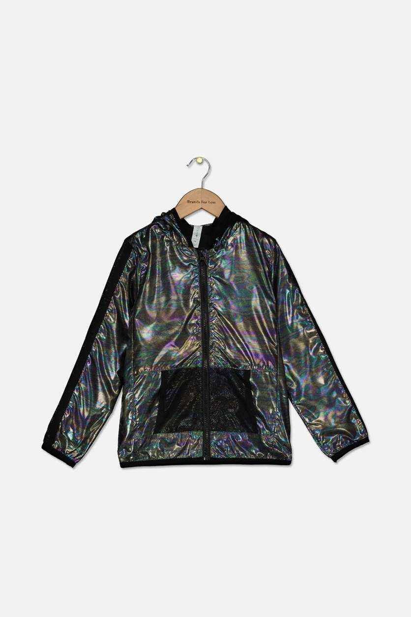 Big Girls Hooded Metallic & Mesh Windbreaker Jacket, Metallic