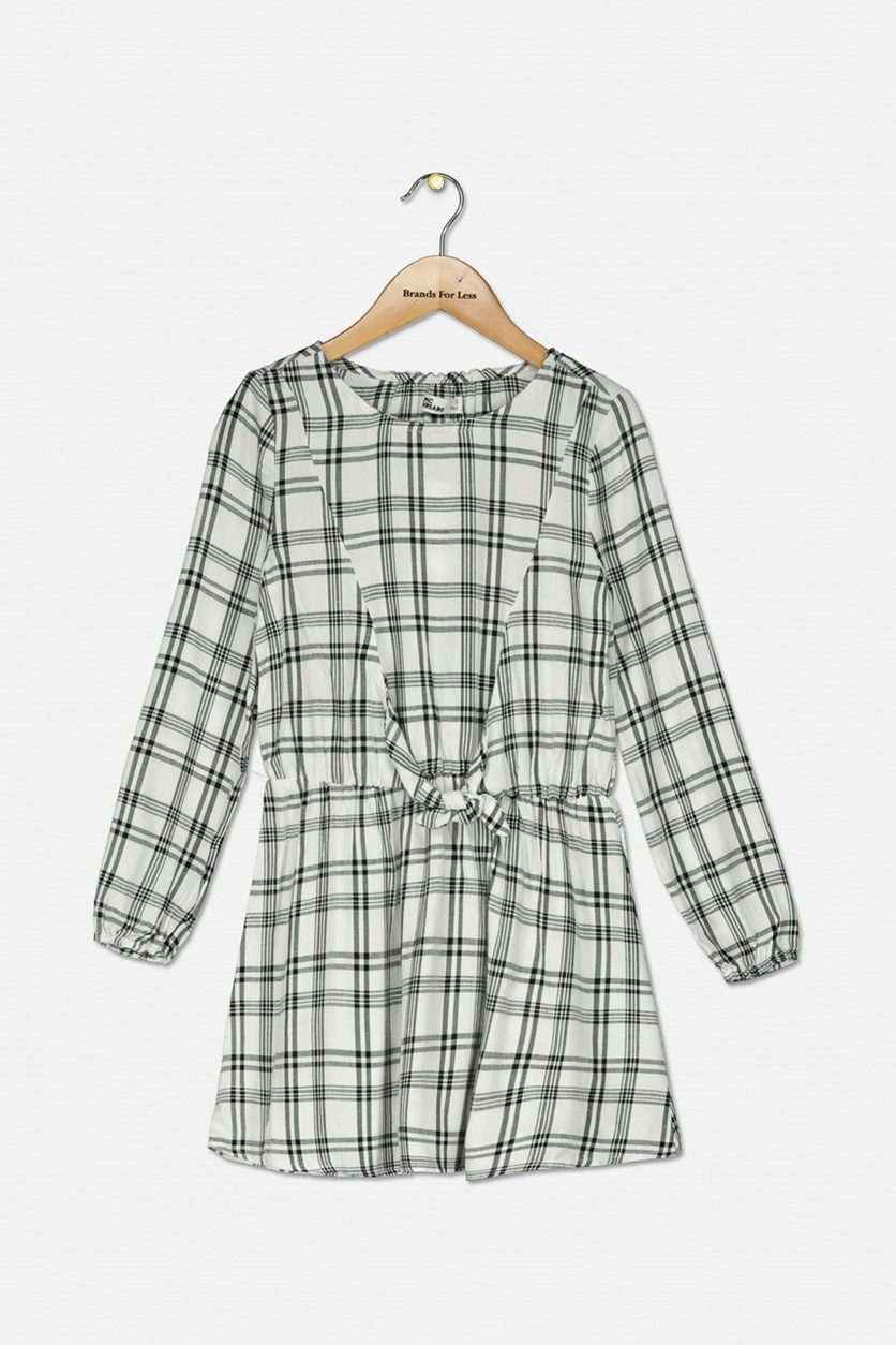Big Girls Tie-Front Plaid Dress, Black/White
