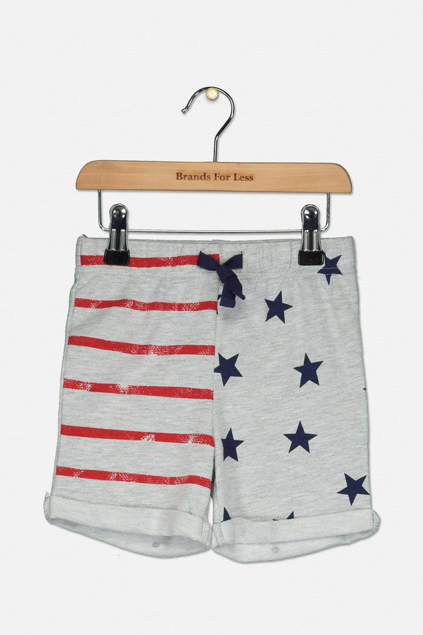 Toddlers Heather Shorts, Grey/Red/Navy
