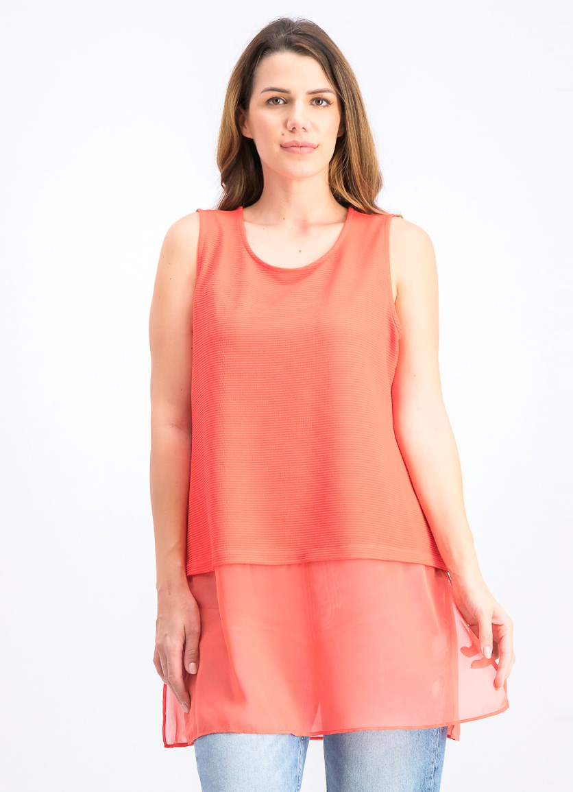 Women's Petite Sleeveless Tops, Coral Branch
