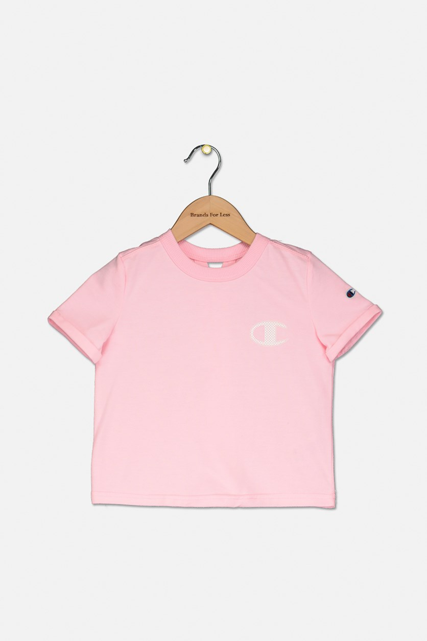 Little Girls French Terry Logo T-Shirt, Pink Candy